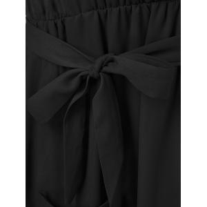 Belted Maxi Surplice Dress - BLACK 2XL