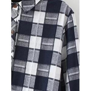 Plus Size Flannel Long Plaid Boyfriend Shirt - WHITE 2XL