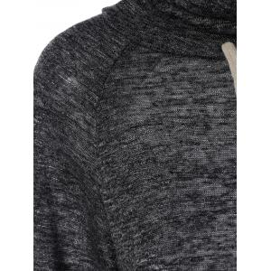 Cowl Neck Drawstring Longline Sweatshirt - BLACK/GREY XL