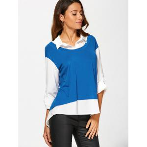 Adjustable Sleeve High Low Blouse -