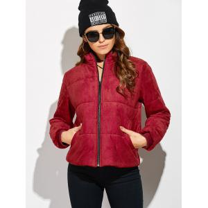 Padded Faux Suede Jacket -