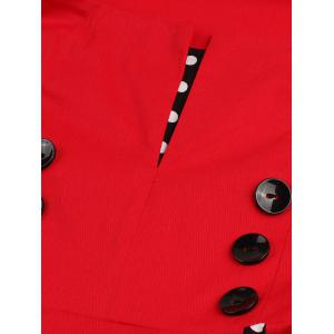 Vintage Polka Dot Panel Prom Swing Dress - RED 5XL