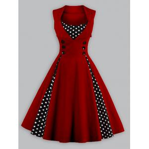 Vintage Polka Dot Plus Size Panel Prom Swing Dress - Wine Red - Xl