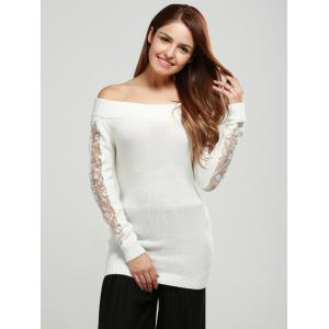 Off The Shoulder Lace Spliced Sweater -