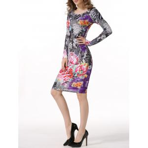 Floral Leopard Bodycon Dress with Long Sleeves - COLORMIX 2XL