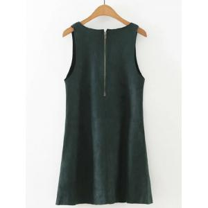 V  Neck Mini Dress - BLACKISH GREEN L