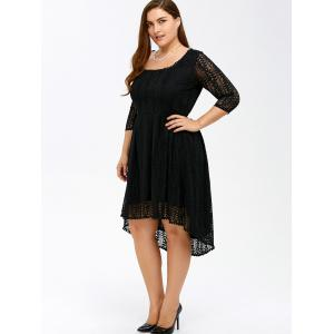 Plus Size High Low A Line Lace Dress With Sleeves - BLACK 7XL