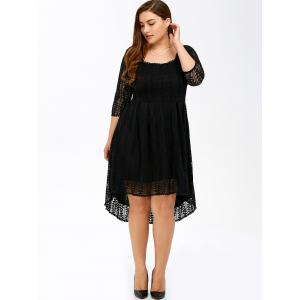 Plus Size Midi High Low A Line Lace Dress With Sleeves - BLACK 7XL