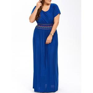 Plus Size Maxi Prom Dress with Short Sleeves