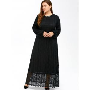 Muslim Lace Plus Size Maxi Long Sleeve Dress -