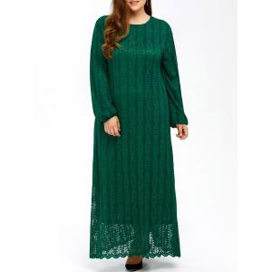 Muslim Lace Plus Size Maxi Long Sleeve Dress - Green - 6xl