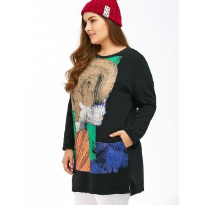 Color Block Print Cartoon Sweatshirt - BLACK 3XL