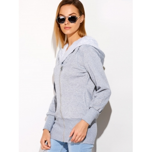 Faux Fur Double Zippers Design Hoodie - GRAY ONE SIZE