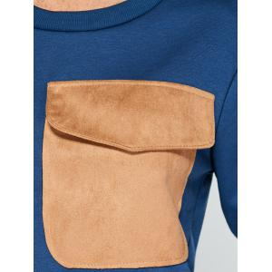 Flap Pocket Color Block Applique Sweatshirt - CADETBLUE 2XL