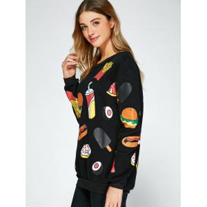 All Over Food Printed Funny Long Sweatshirt -