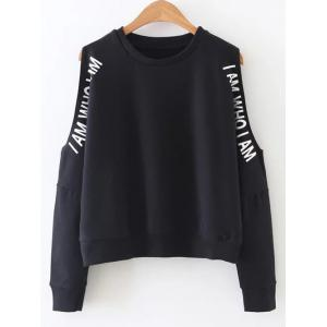Letter Printed Cold Shoulder  Sweatshirt