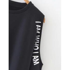 Letter Printed Cold Shoulder  Sweatshirt -
