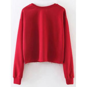 Letter Graphic Frayed Hem Cropped Sweatshirt - RED L