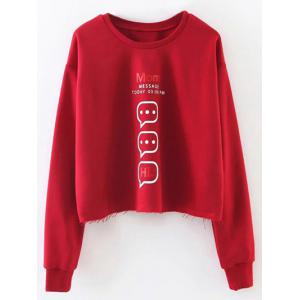Letter Graphic Frayed Hem Cropped Sweatshirt