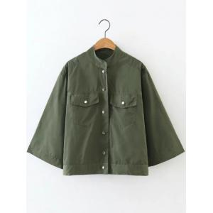 Button Fly Cropped Cape Jacket - Army Green - L