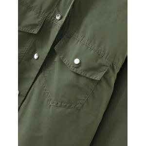 Button Fly Cropped Cape Jacket - ARMY GREEN L