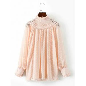 Lace Spliced Lantern Sleeve Loose Blouse