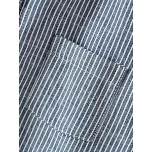 Pocket Insert Fleece Pinstripe Shirt -