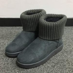 Flock Knitted Slip On Snow Boots -