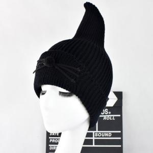 Warm Cat Beard Shark Fin Shape Knit Hat - Black