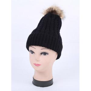 Winter Cable Knit Pom Hat - Black - M