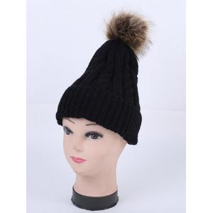 Winter Stripy Cable Knit Pom Hat