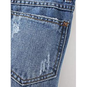 Patched Distressed Jeans - DENIM BLUE XL