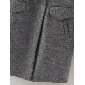 One Button Sherpa Fleece Spliced Coat - GRAY L
