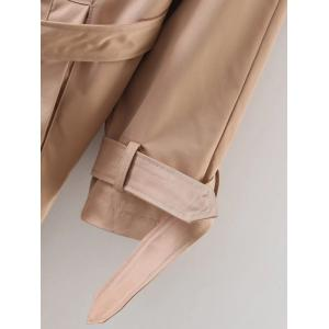 Slimming Double Breasted Belted Maxi Wrap Long Trench Coat - KHAKI L