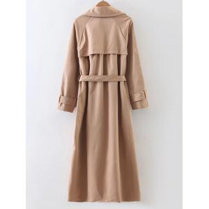 Slimming Double Breasted Belted Maxi Wrap Long Trench Coat -
