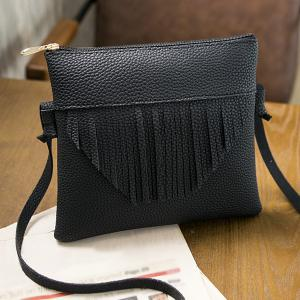 Fringe Textured PU Leather Cross Body Bag - Black