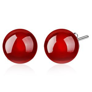 Artificial Gemstone Ball Earrings - Red