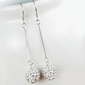 Rhinestone Ball Drop Earrings - SILVER