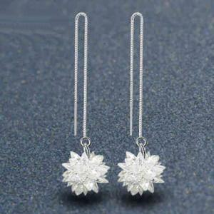 Faux Gem Flower Drop Earrings -