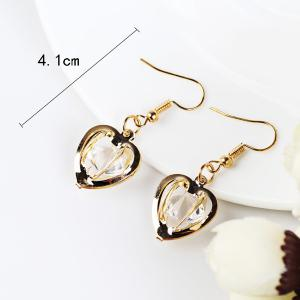 Faux Gem Heart Drop Earrings - GOLDEN