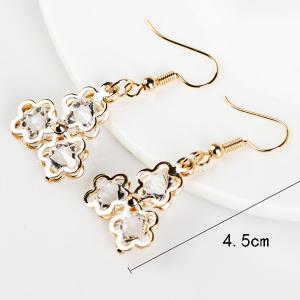 Faux Gemstone Flower Drop Earrings - GOLDEN