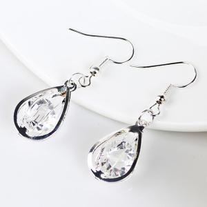 Faux Crystal Water Drop Hook Earrings