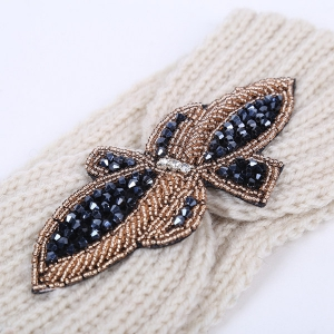 Winter Rhinestone Bowknot Infinite Knitted Headband - PINK