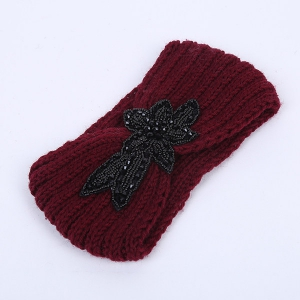 Winter Rhinestone Flower Infinite Knitted Headband
