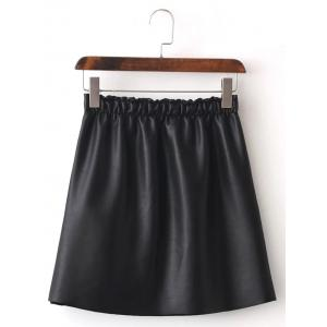 Faux Leather Fleece Lined A Line Skirt
