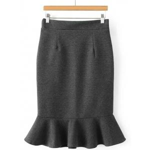 High Waisted Wool Blend Mermaid Skirt