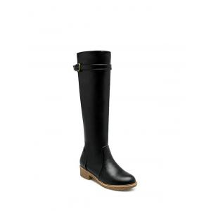 Buckle Strap Low Heel Knee High Boots