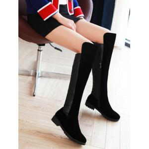 Suede Splicing Knee High Boots - BLACK 39