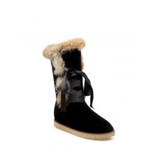 Faux Fur Ribbon Snow Boots