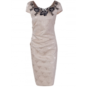 Flower Embroidery Lacework Insert Bodycon Dress - Light Beige - Xl